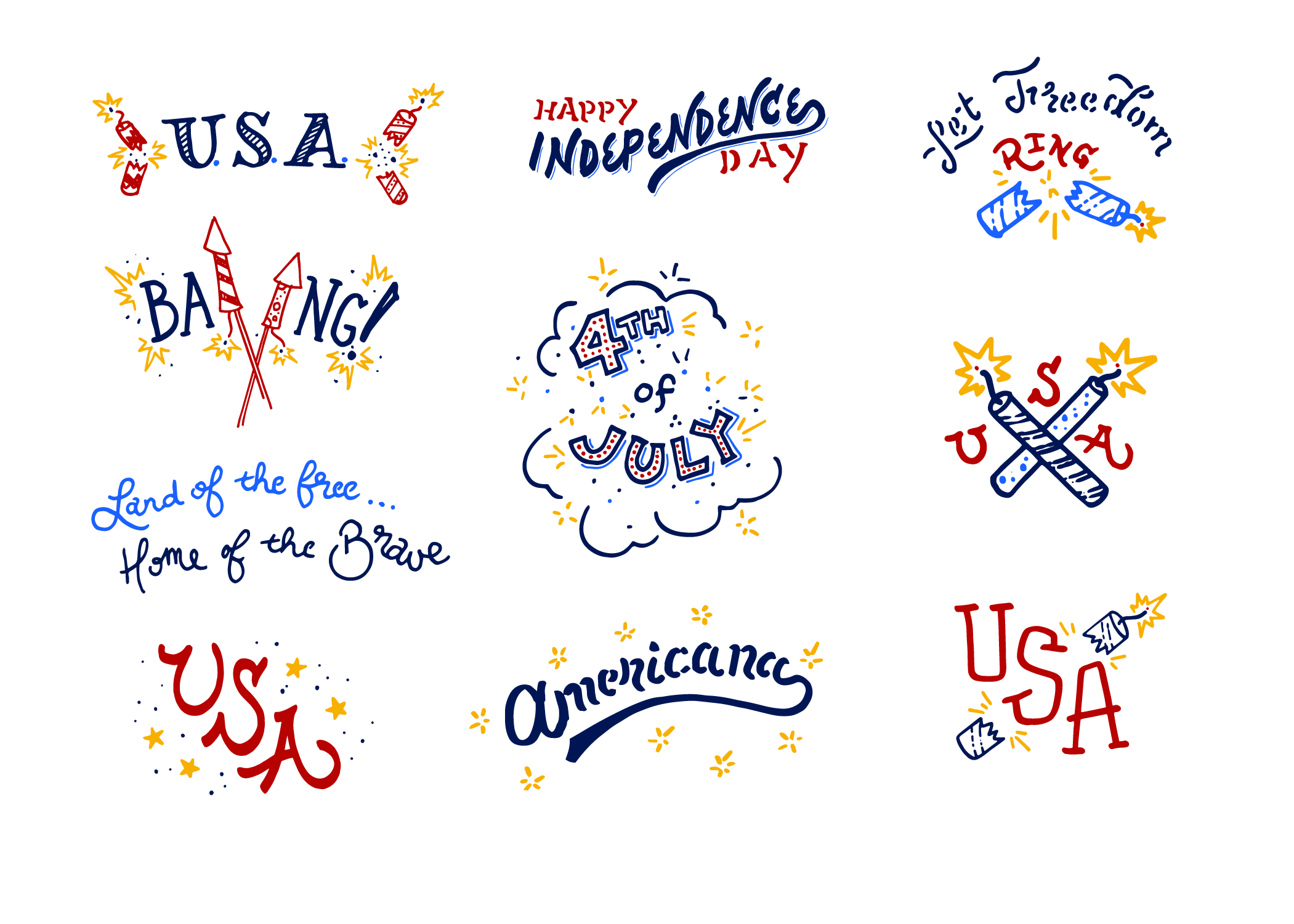 4th of July Americana Lettering Pack example image 2