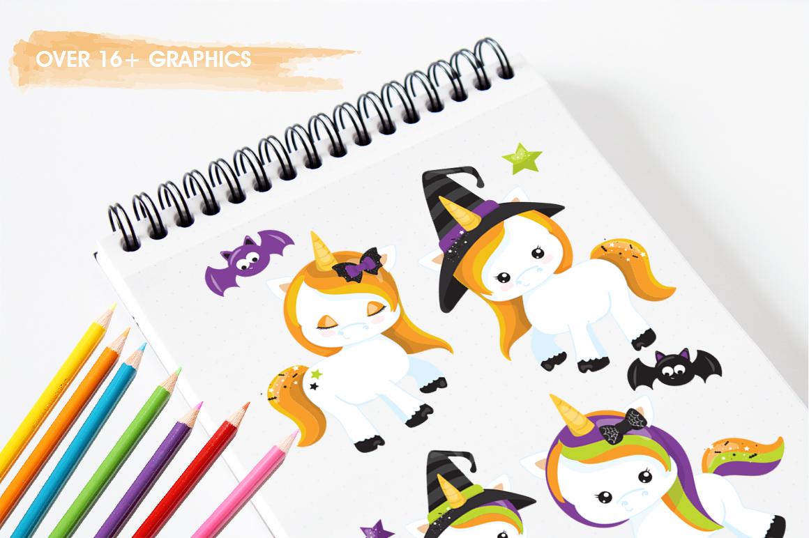 Unicorn Halloween graphic and illustrations example image 5