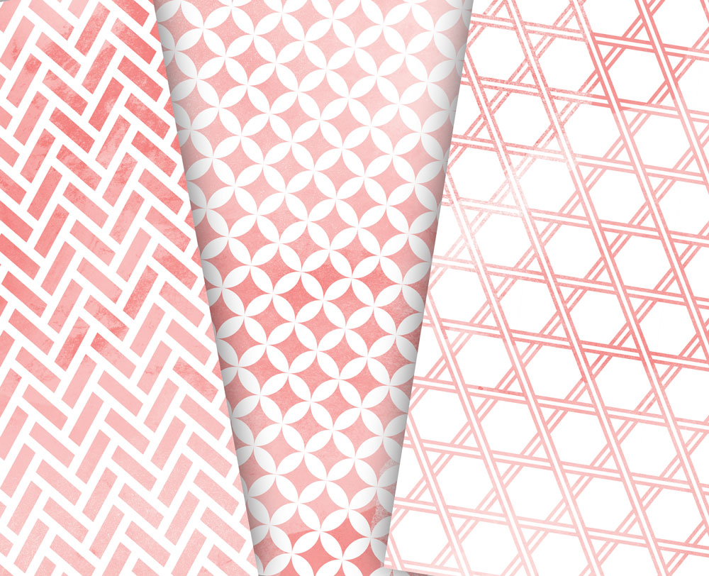 Coral Pink Digital Paper Japanese Background Patterns example image 5