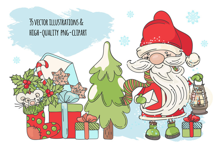 CHRISTMAS SONG New Year Santa Music Clip Art Pattern Vector example image 2
