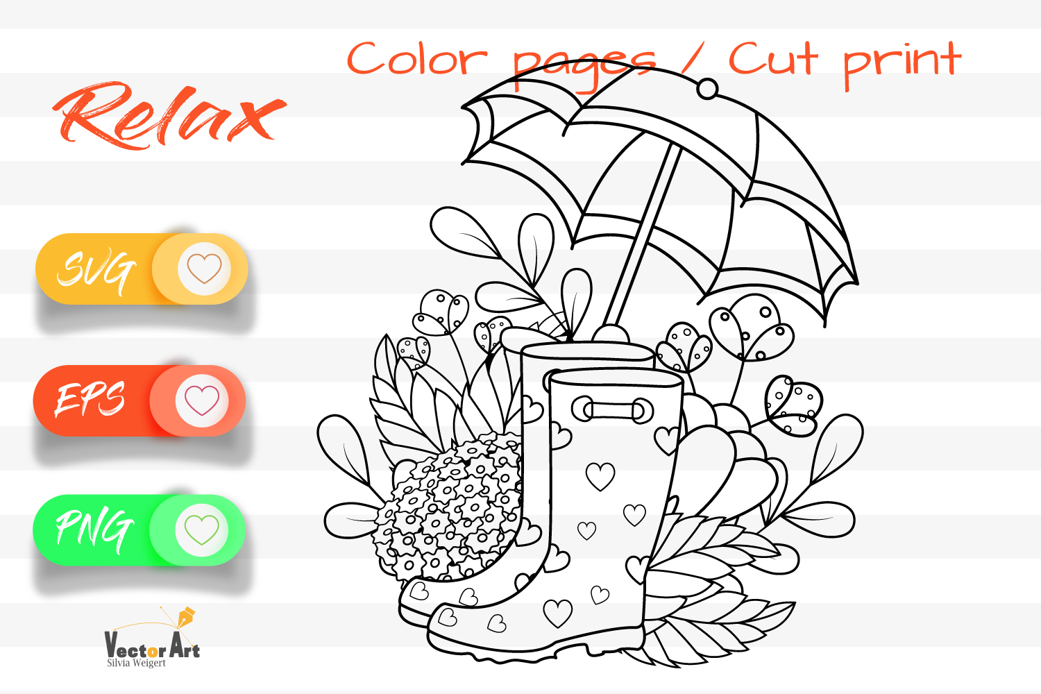 Rubber Boots - Cut File and Coloring Page example image 1