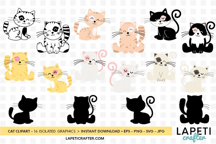 Cat clipart, kitten cats clipart, kitty clip art digital example image 1