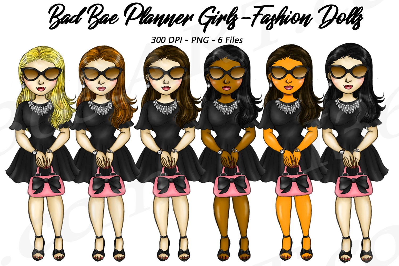 Bad Bae Planner Girls Clipart, Black Dress, Fashion Dolls example image 1