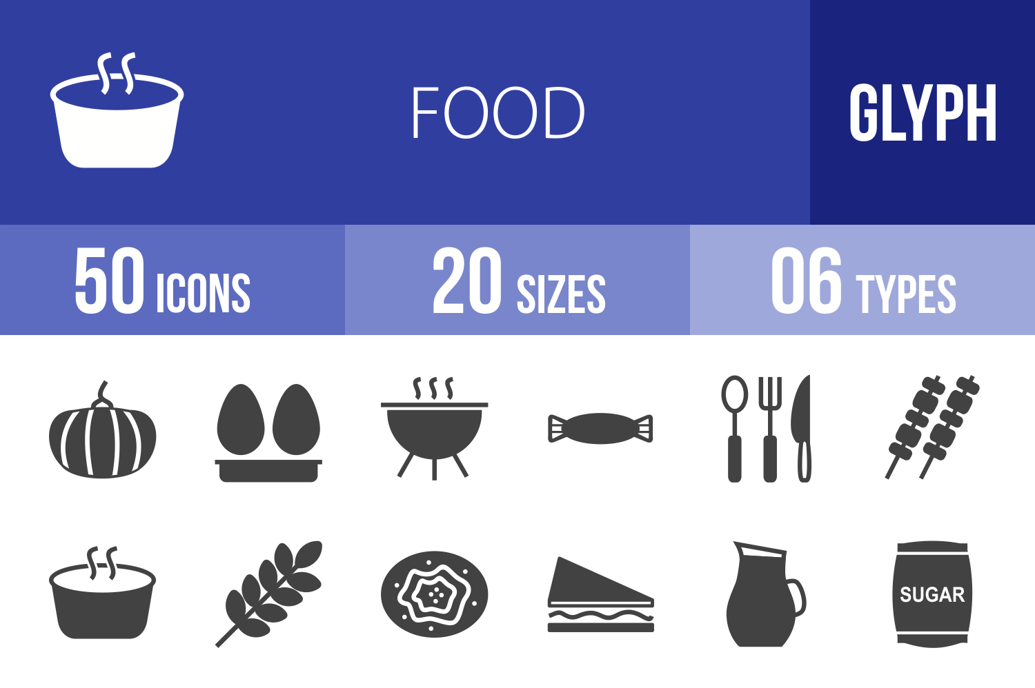 50 Food Glyph Icons example image 1
