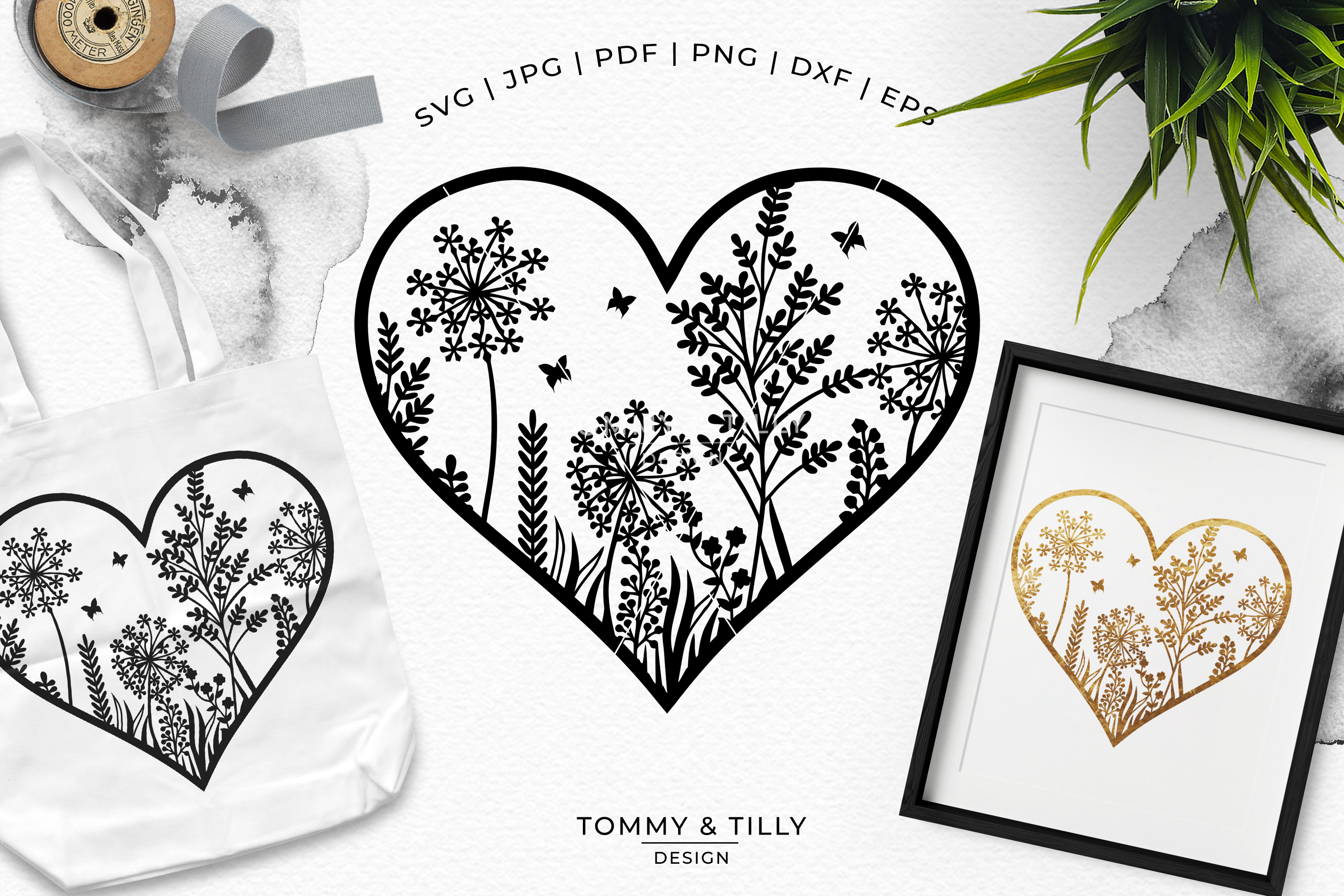 Meadow Heart - Papercut Template SVG EPS DXF PNG PDF JPG example image 2