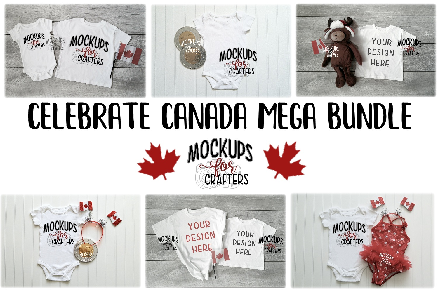 MOCK-UP BUNDLE CANADIAN THEME - BABY BODYSUITS, T-SHIRTS example image 1