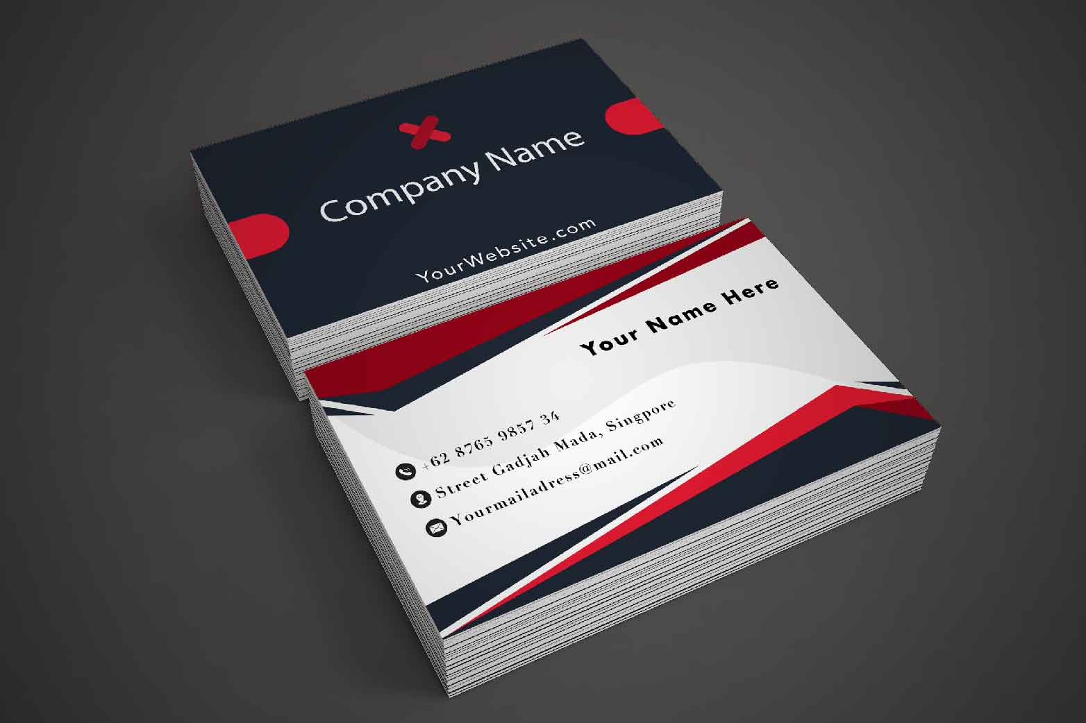 Modern Black Dark Business Card Template example image 1