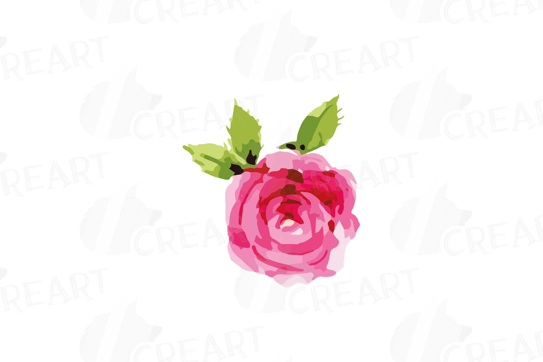 Watercolor Pink and Blue Roses and leafs clip art pack, png example image 3