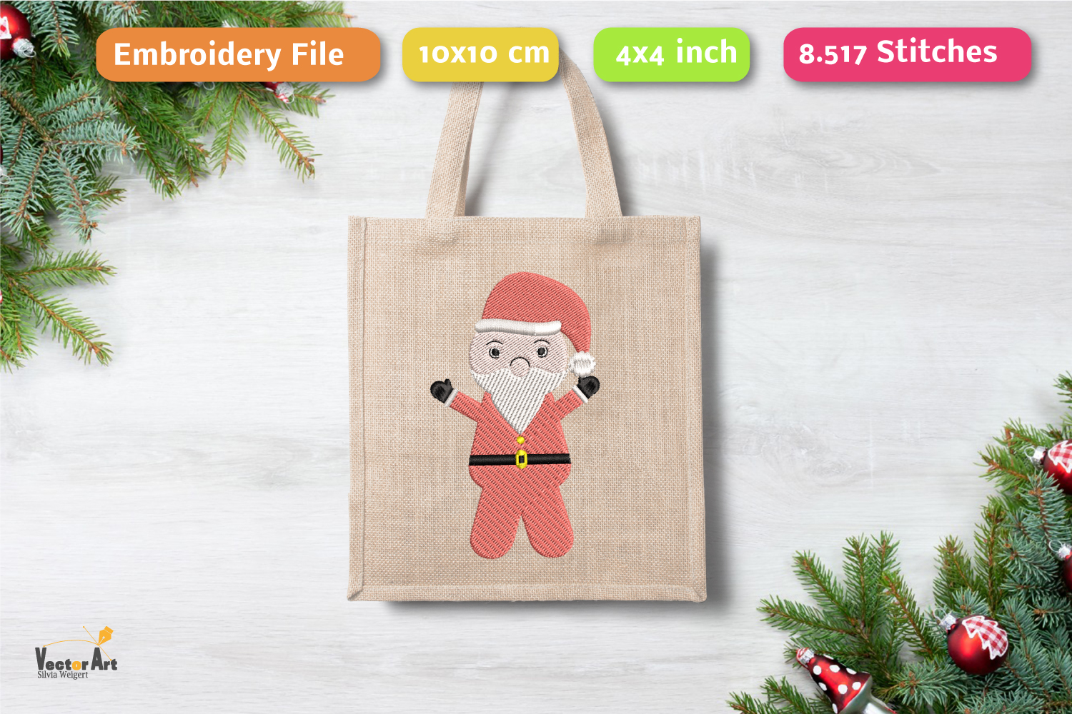 Santa Claus - Embroidery File - 4x4 inch example image 1