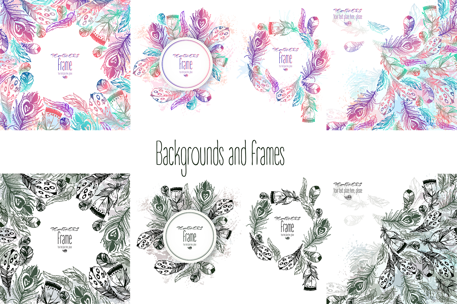 Vector boho feathers. Designs. example image 4