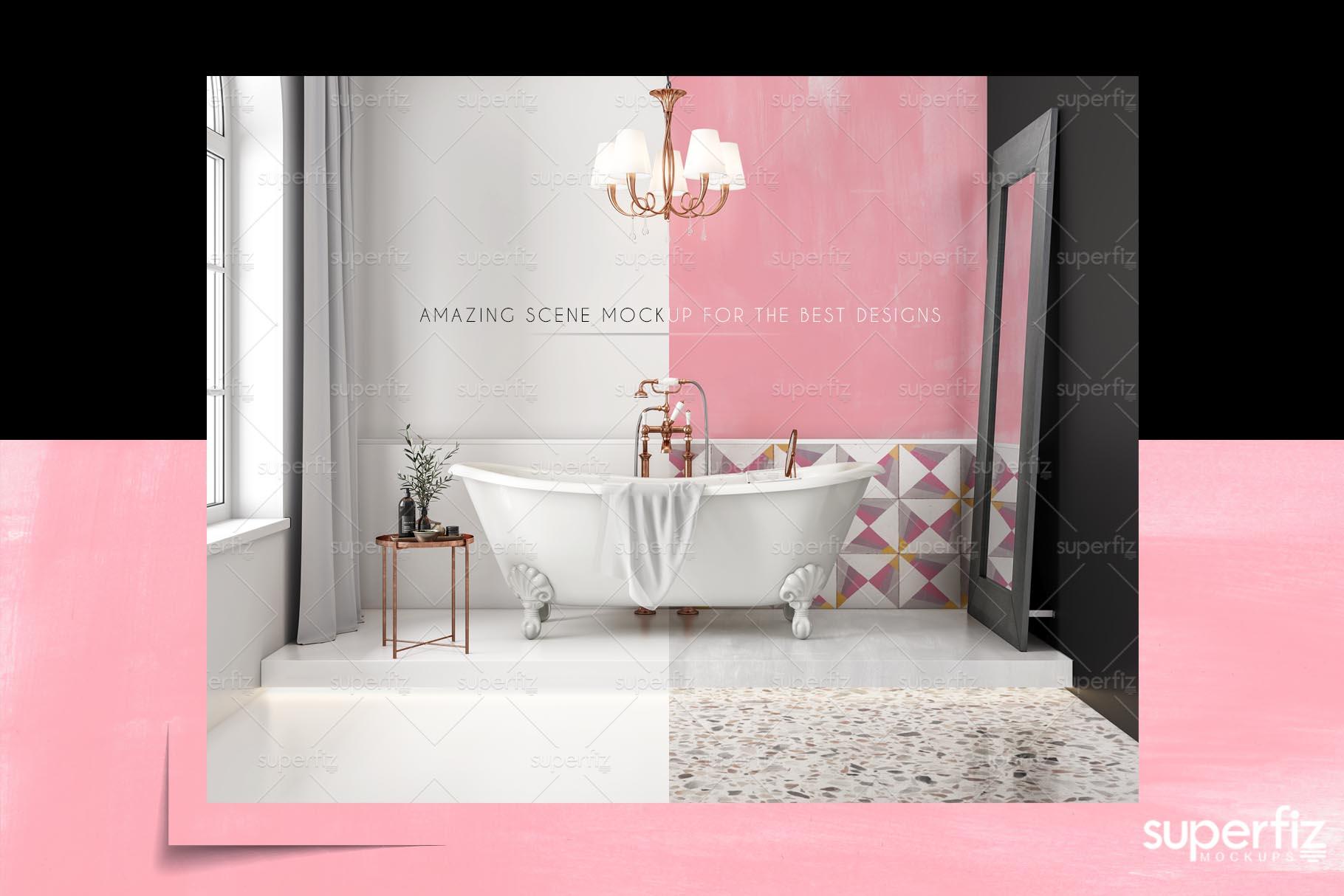 Floor and Wall PSD Mockup Bathroom Scene SM104 example image 6