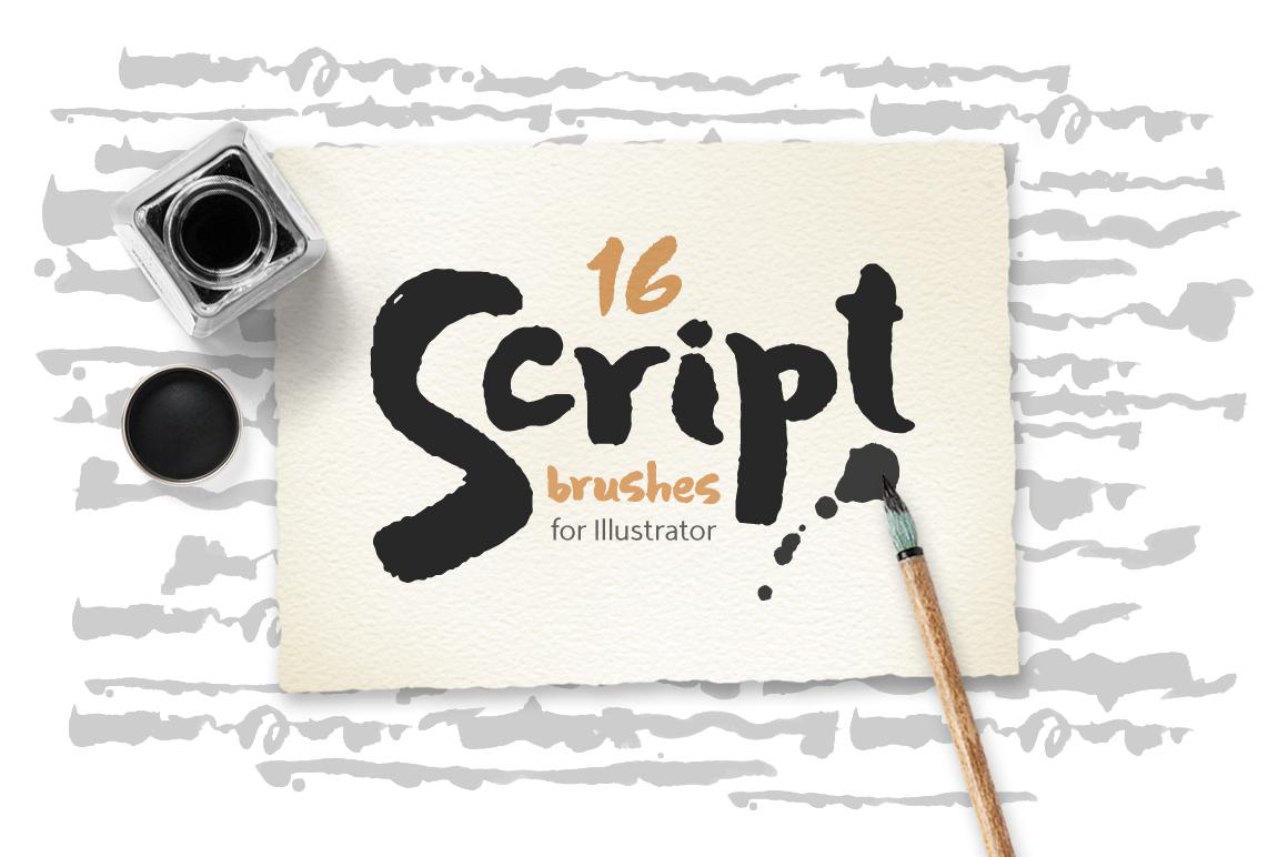 Script Brushes for Illustrator example image 1