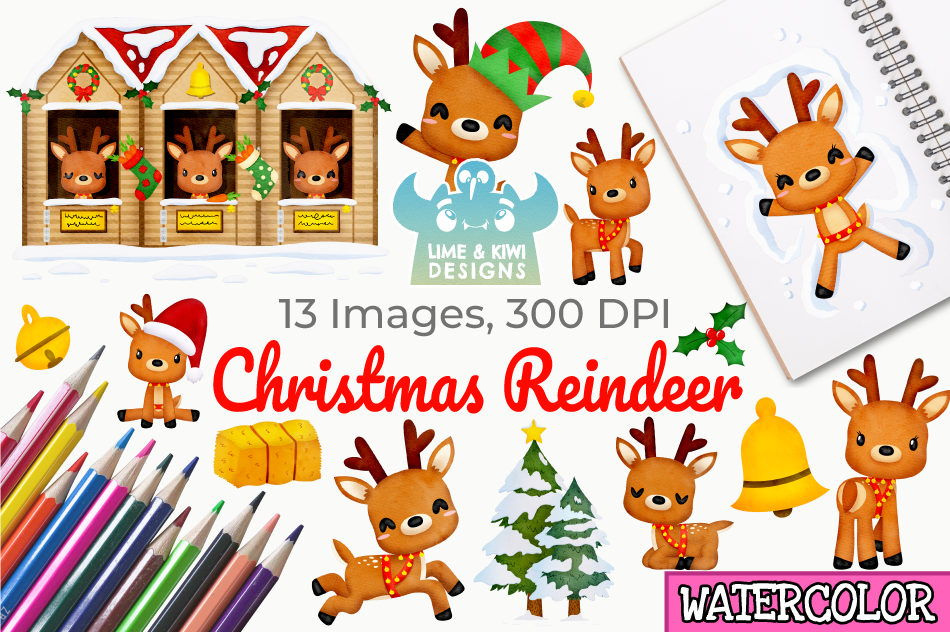 Christmas Reindeer Watercolor Clipart, Instant Download example image 1