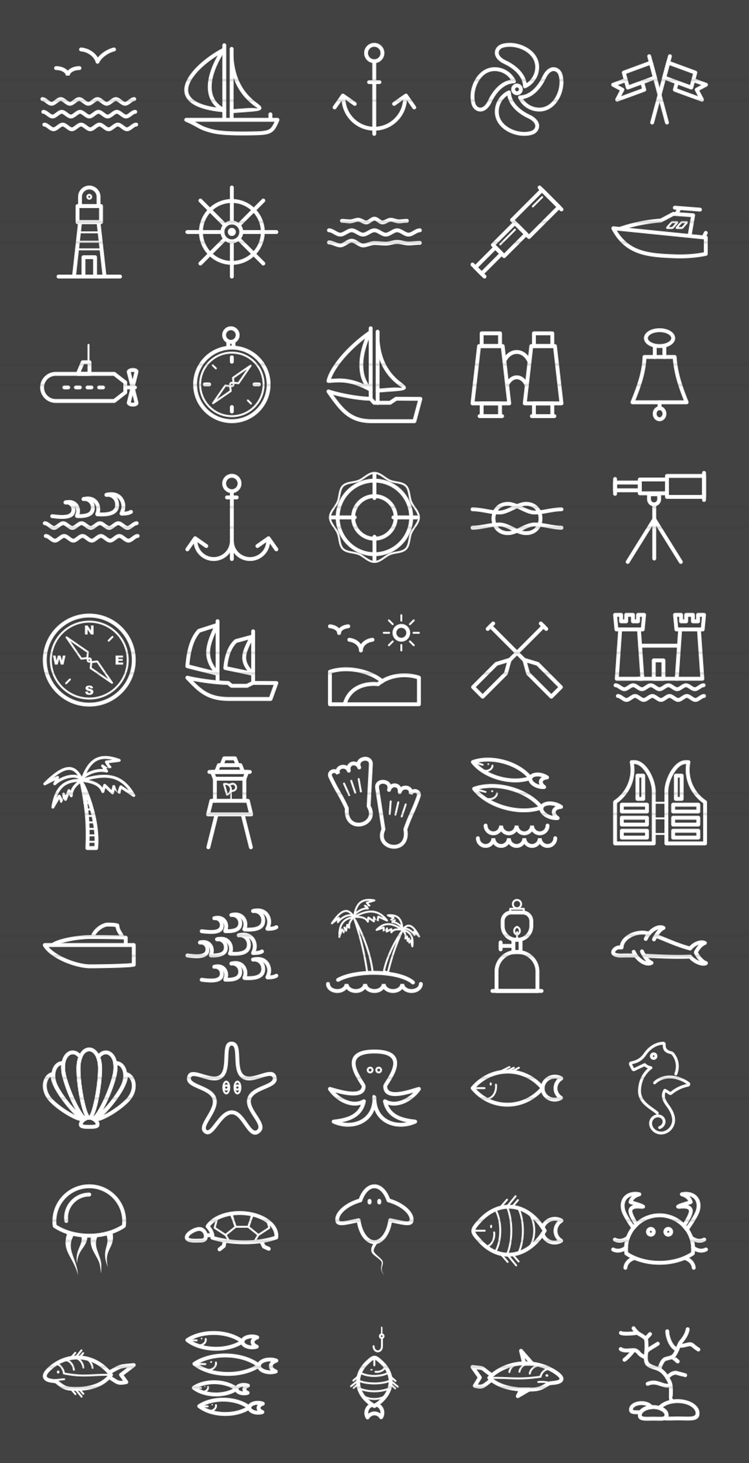 50 Sea Line Inverted Icons example image 2