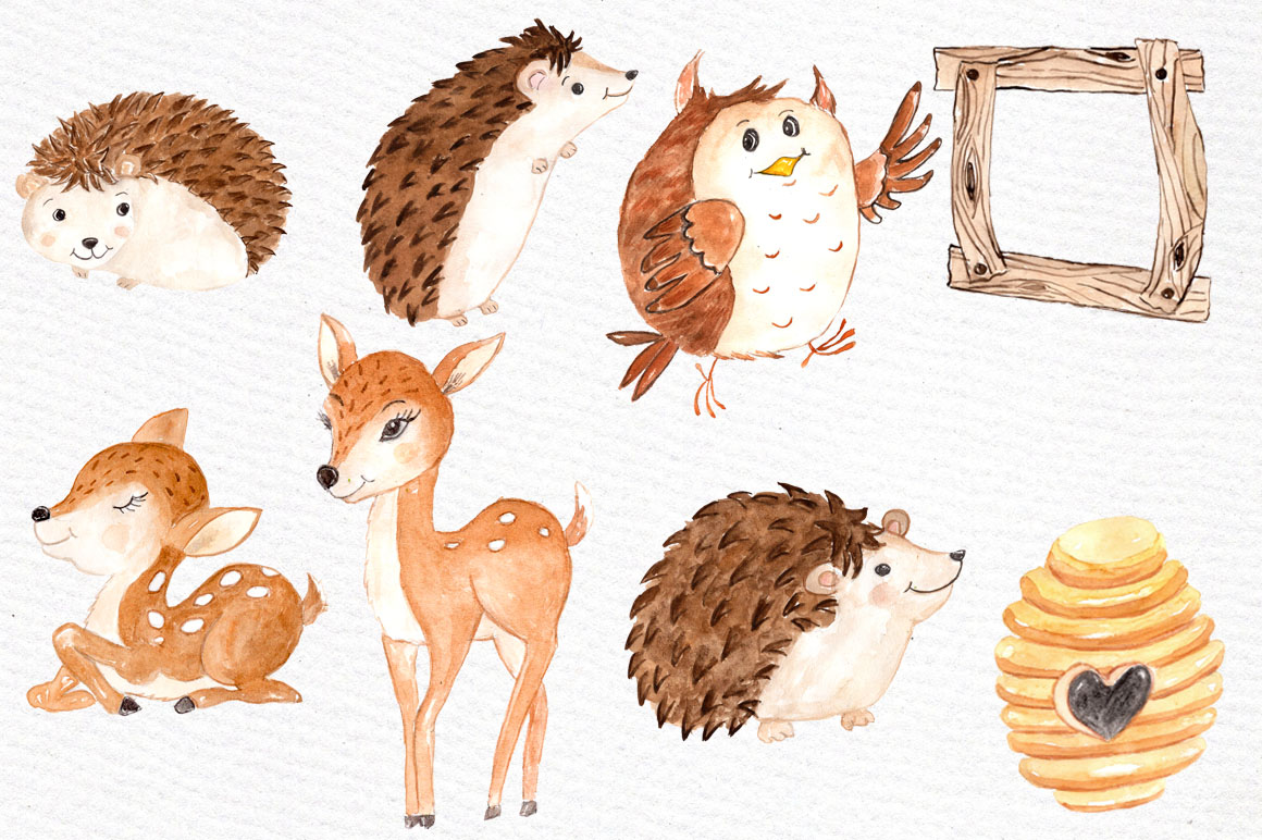 Watercolor forest animals clipart example image 4