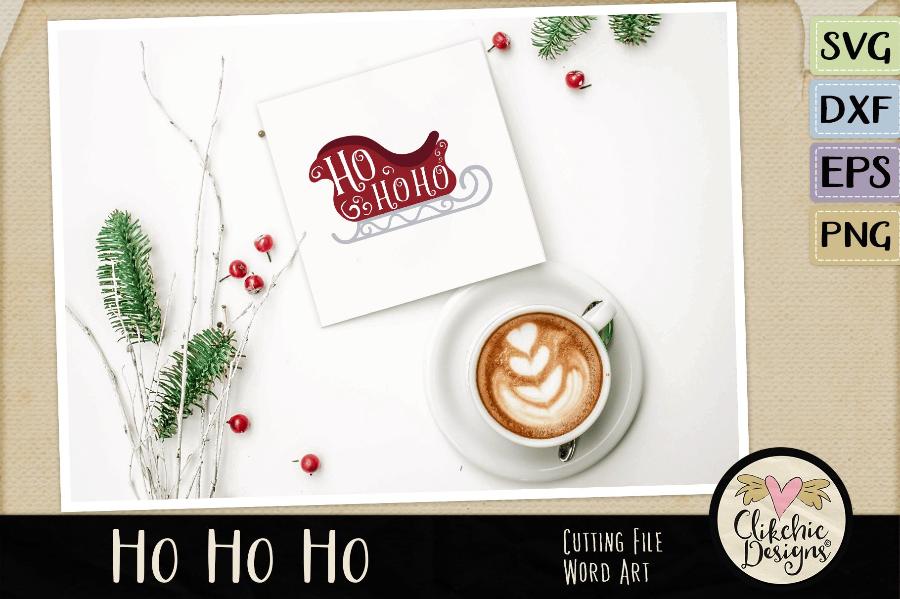 Chistmas SVG - Ho Ho Ho Santa's Sleigh Word Art Clipart example image 4