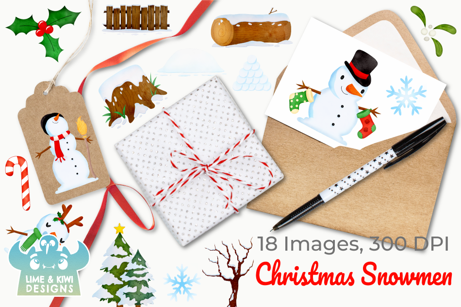 Christmas Snowmen Watercolor Clipart, Instant Download example image 4