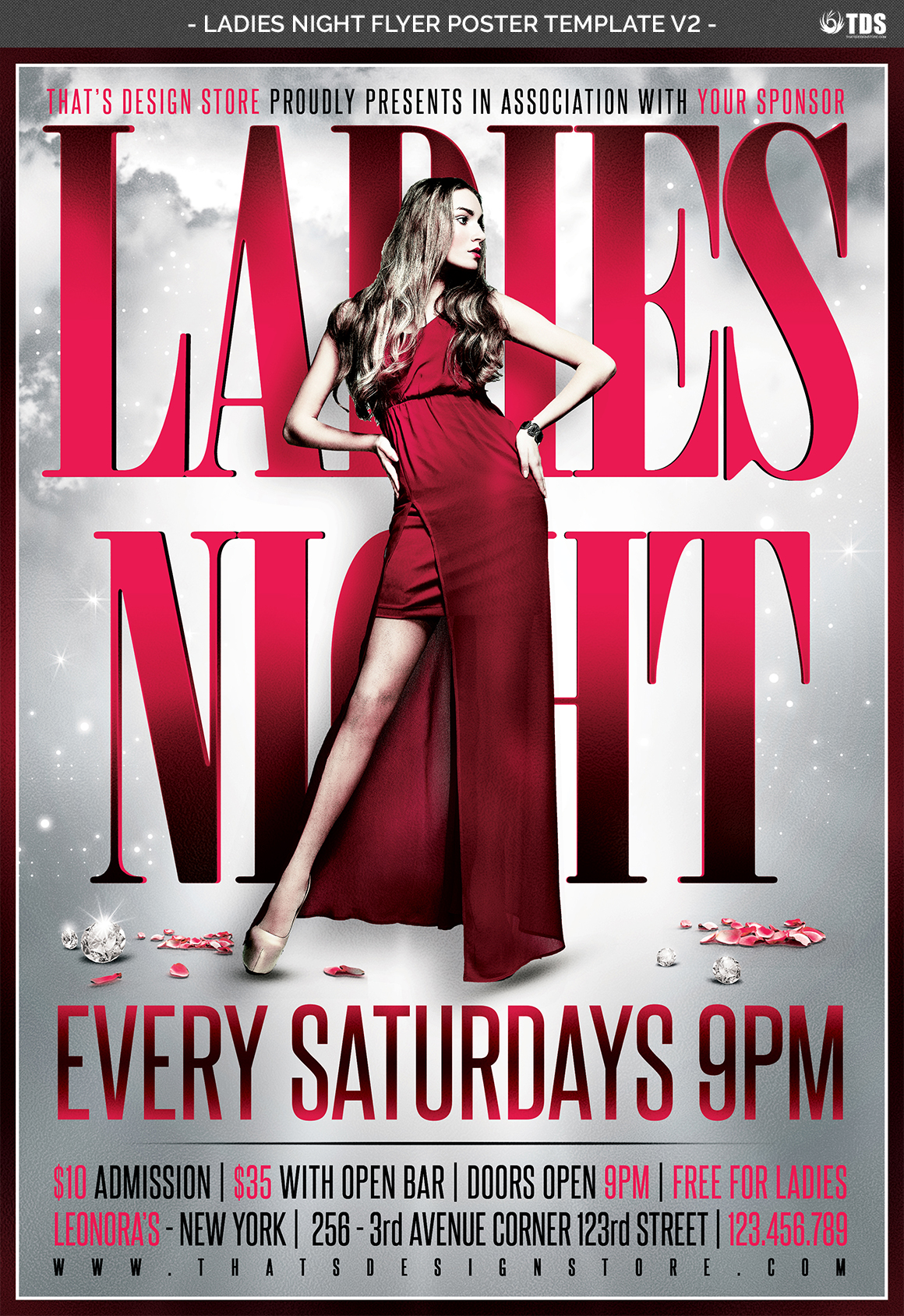 Ladies Night Flyer Poster Template V2 example image 4