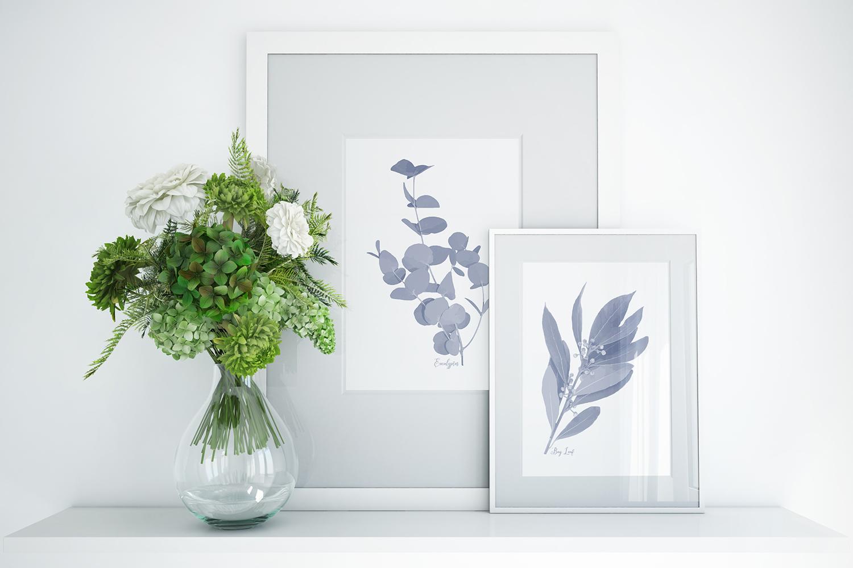 Pretty Indigo Blue Printable Kitchen Garden Herbs Art Prints example image 2
