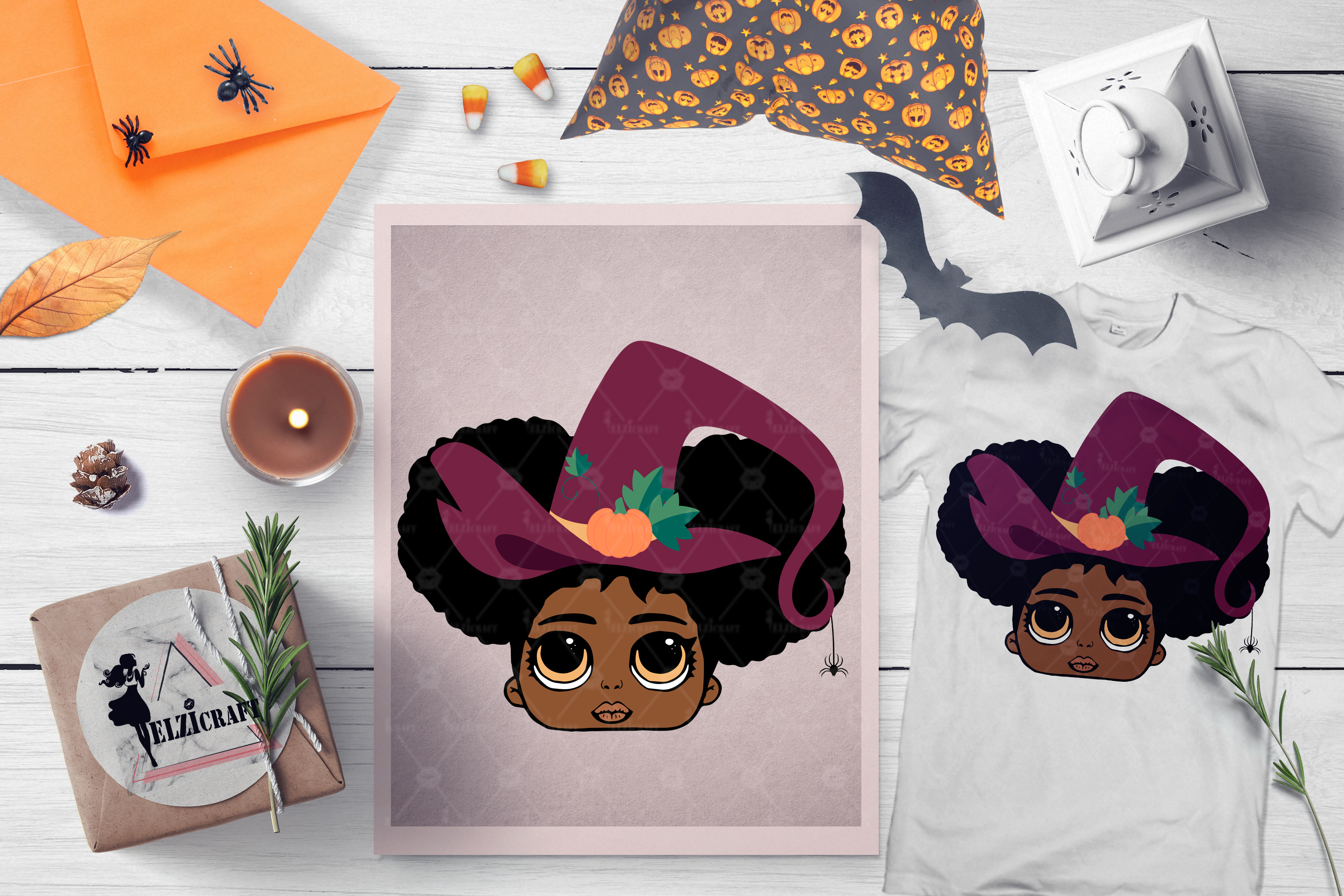 Halloween Cute Afro Girl Witch Hat Salem SVG Cut File example image 1