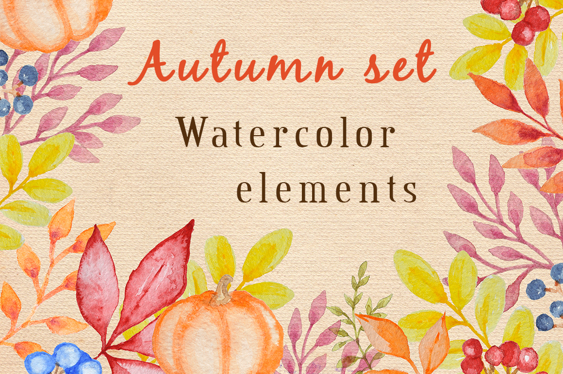 Watercolor Autumn Design Kit example image 1