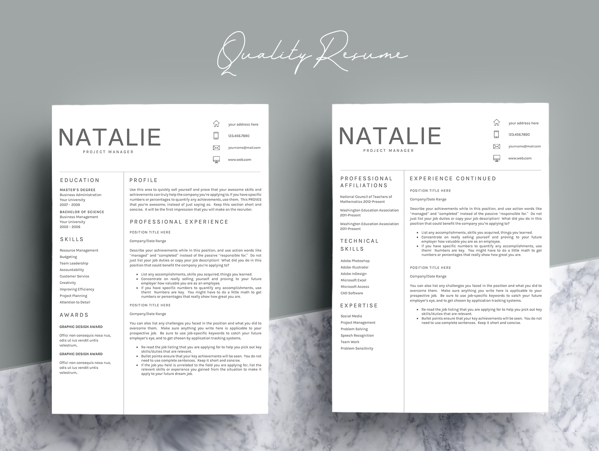 Resume Template CV Word example image 4
