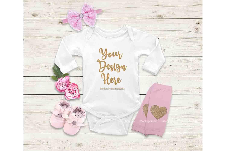 Baby Girl White Longsleeve Bodysuit Mockup, Newborn Mock Up example image 1