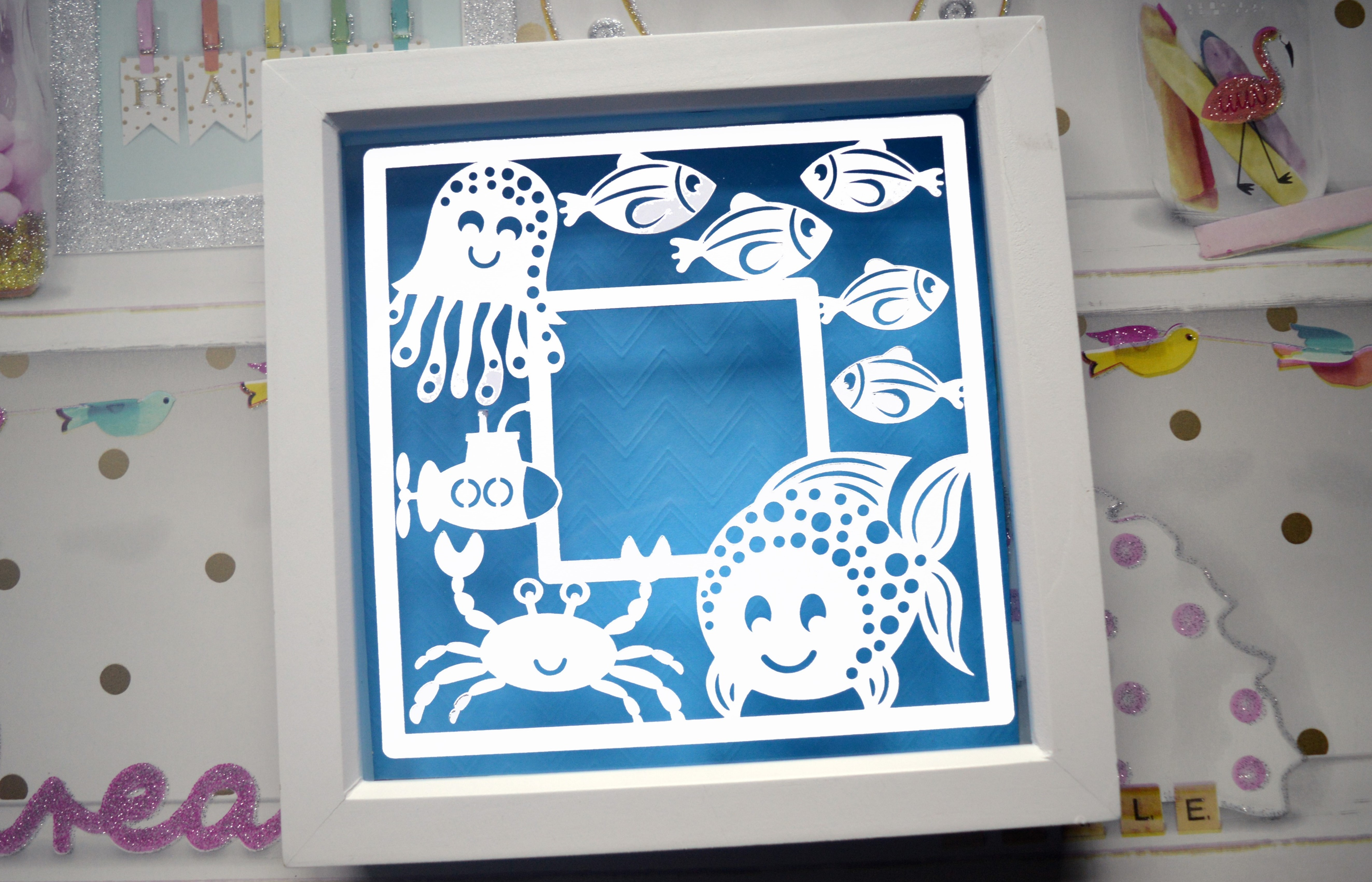 Fish frame paper cut SVG / DXF / EPS Files example image 2