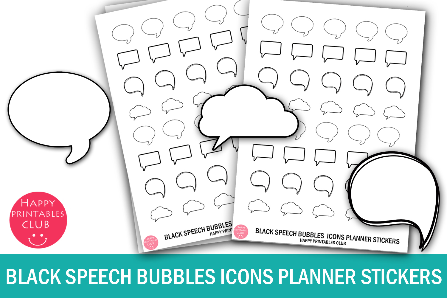 Black White Speech Bubbles Icons Planner Stickers- Bubbles example image 1