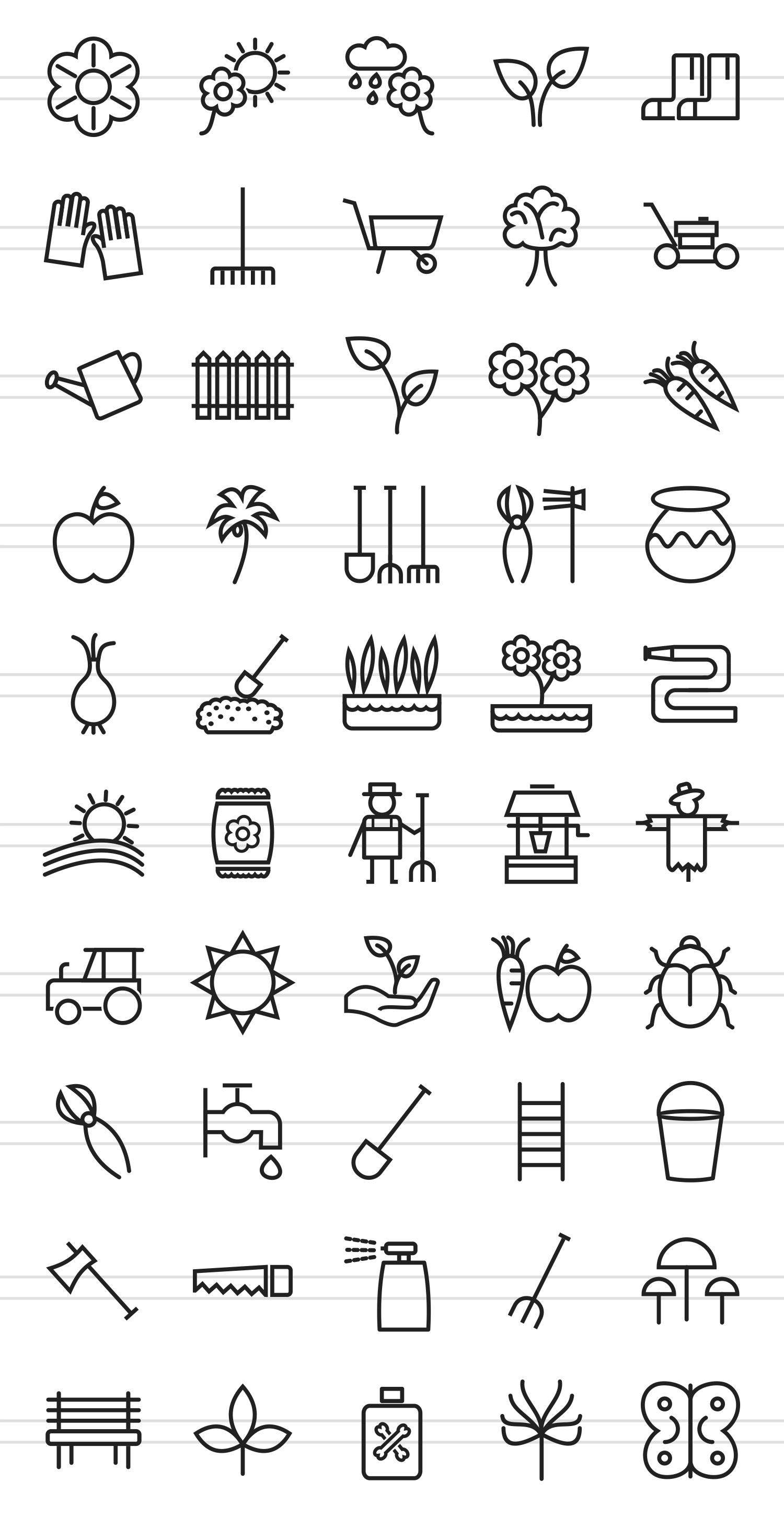50 Gardening Line Icons example image 2