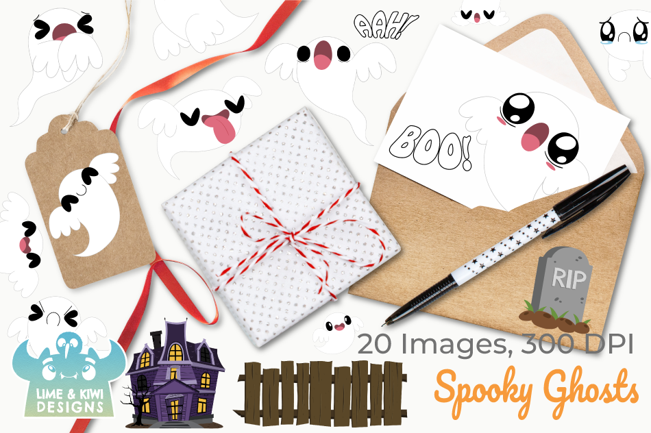 Spooky Ghosts Clipart, Instant Download Vector Art example image 4