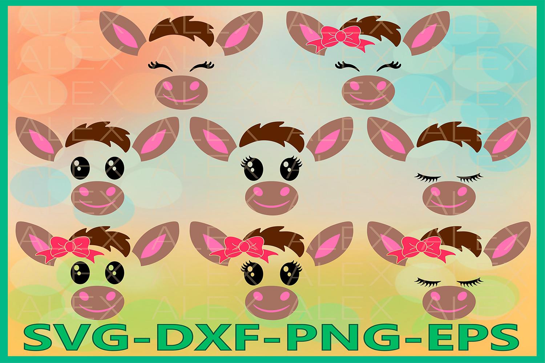 Donkey Svg Files, Donkey face svg, Donkey Eyelashes example image 1