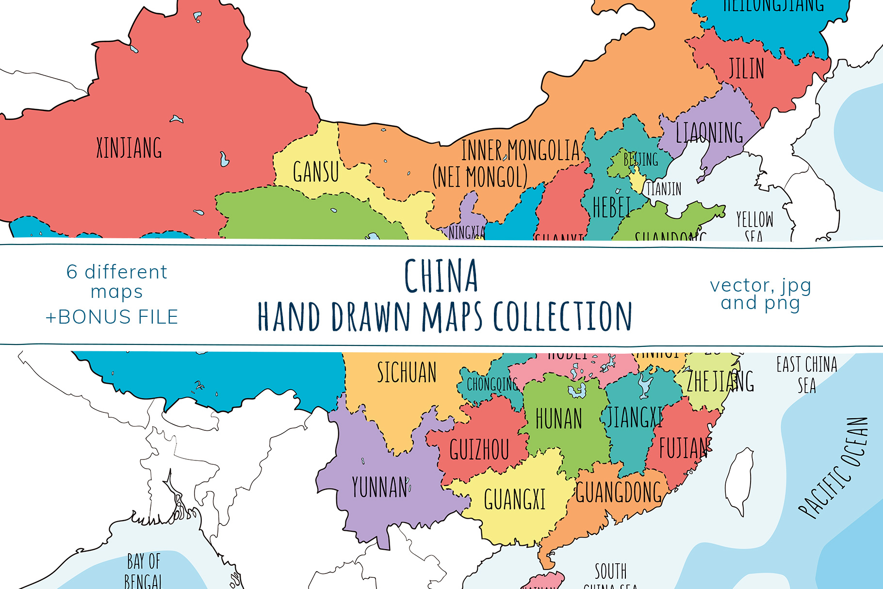 Maps of China. Hand drawn collection example image 1