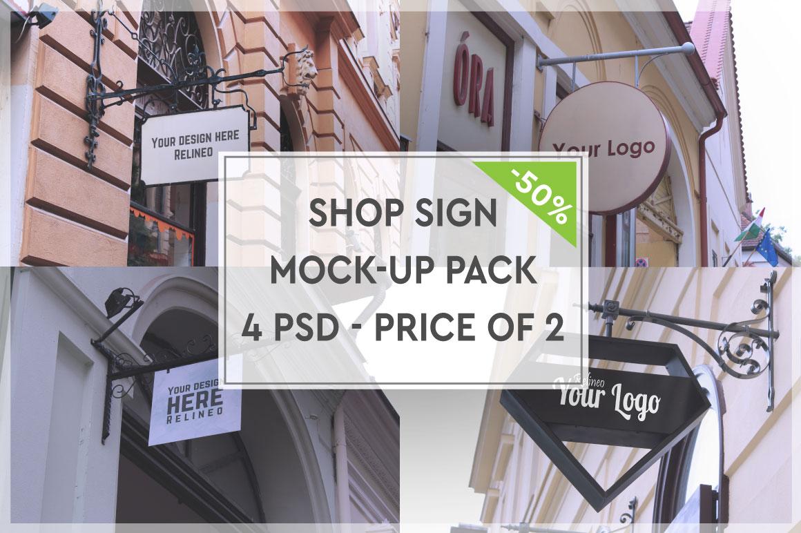 Shop Sign Mock-up Pack #1 example image 1