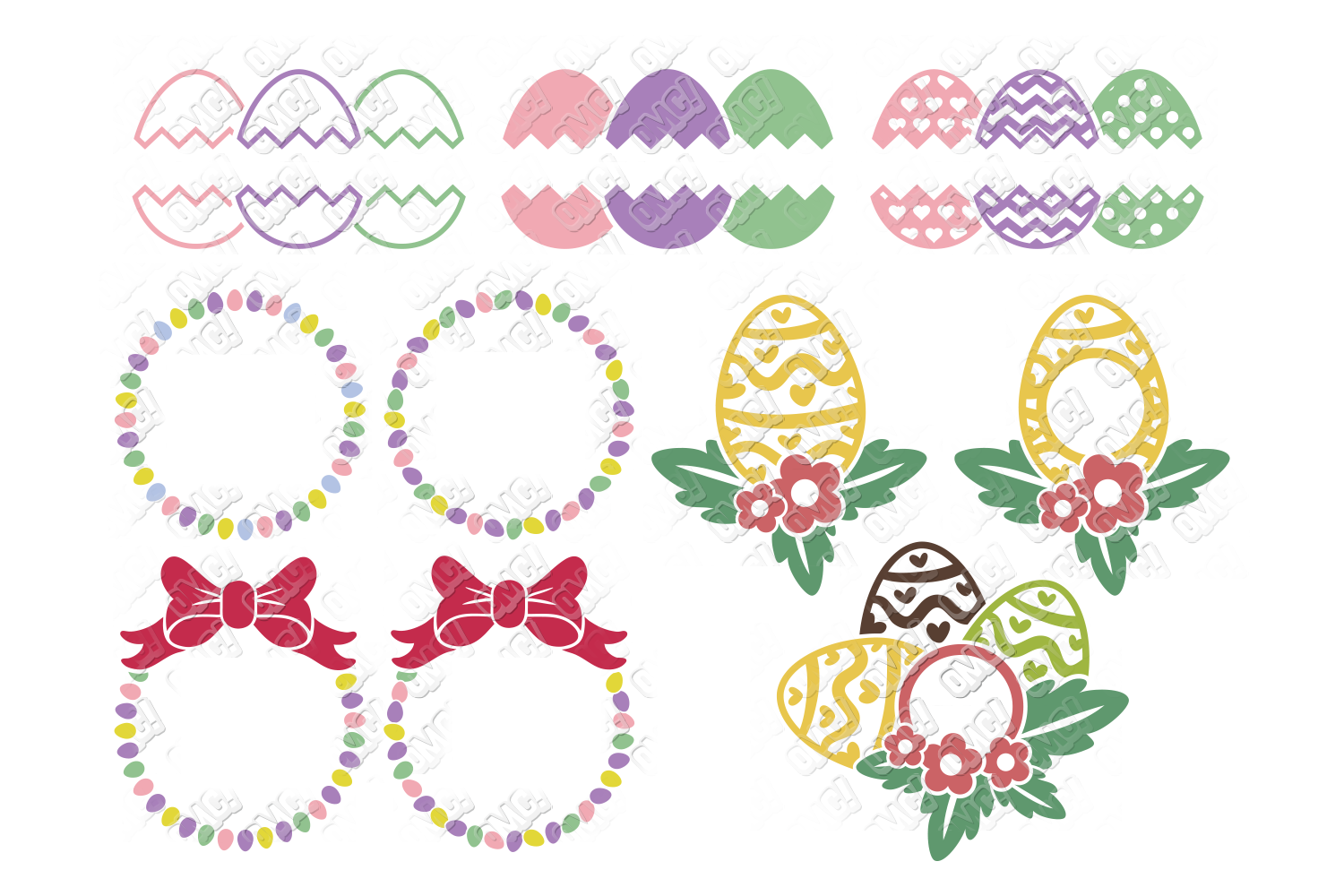 Easter Egg SVG Monogram Quotes in SVG, DXF, PNG, EPS, JPEG example image 2