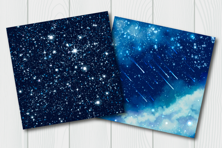 Blue galaxy digital paper. Starry sky background example image 5