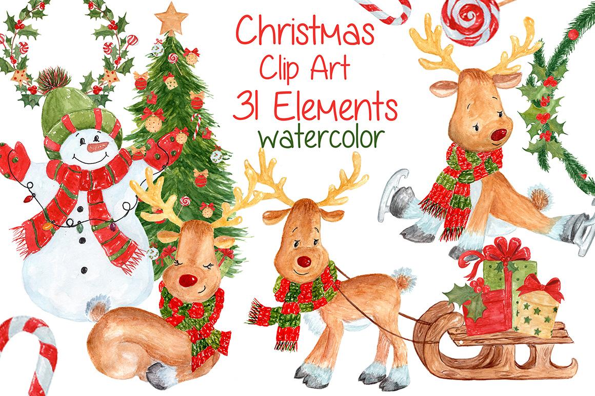 Bundle Watercolor Christmas Kids Clipart example image 3