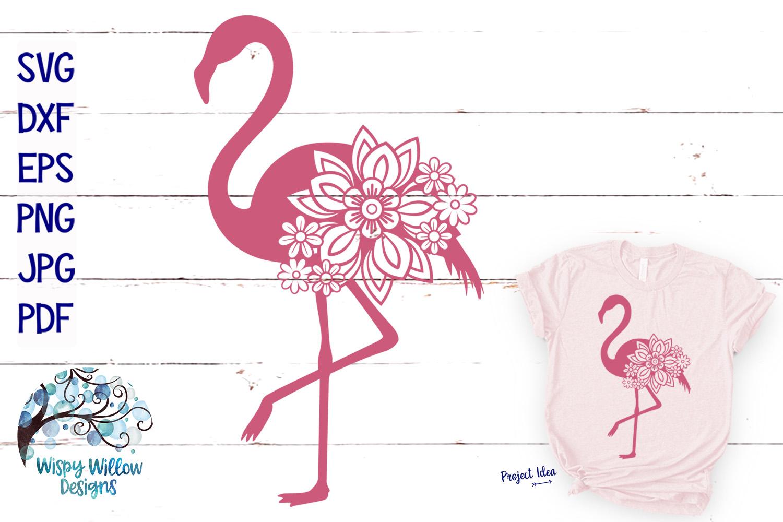 Floral Flamingo SVG Cut File example image 1