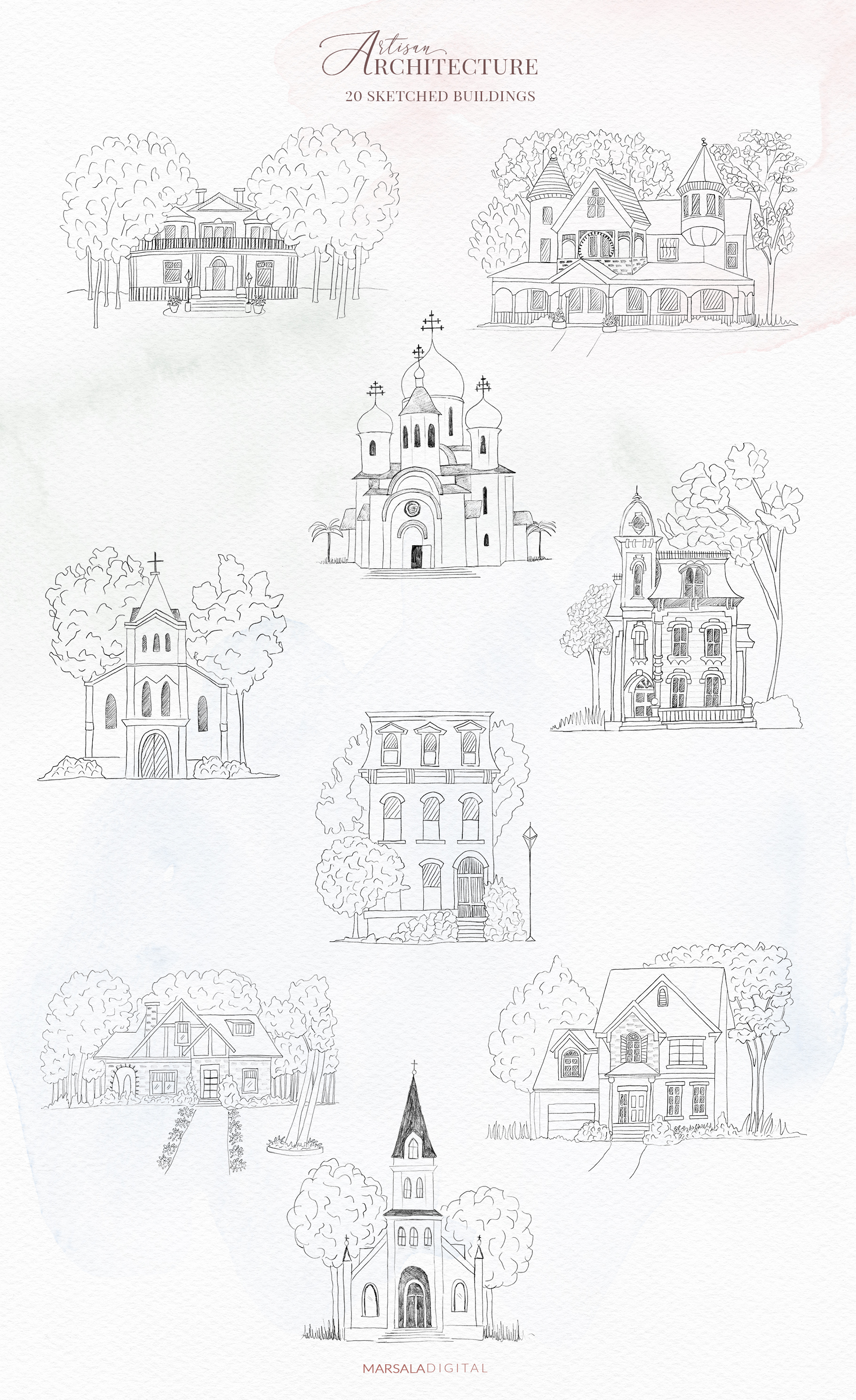 Venues Houses Watercolor , Sketch , Vector Graphics example image 6