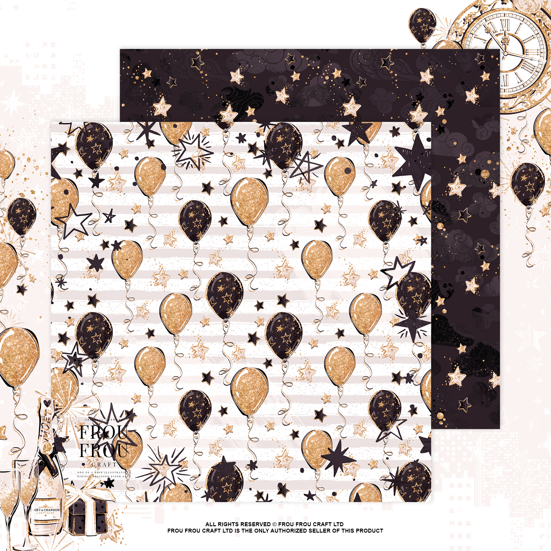 Fashion Girl New Year Party Gold Glitter Clip Art example image 6