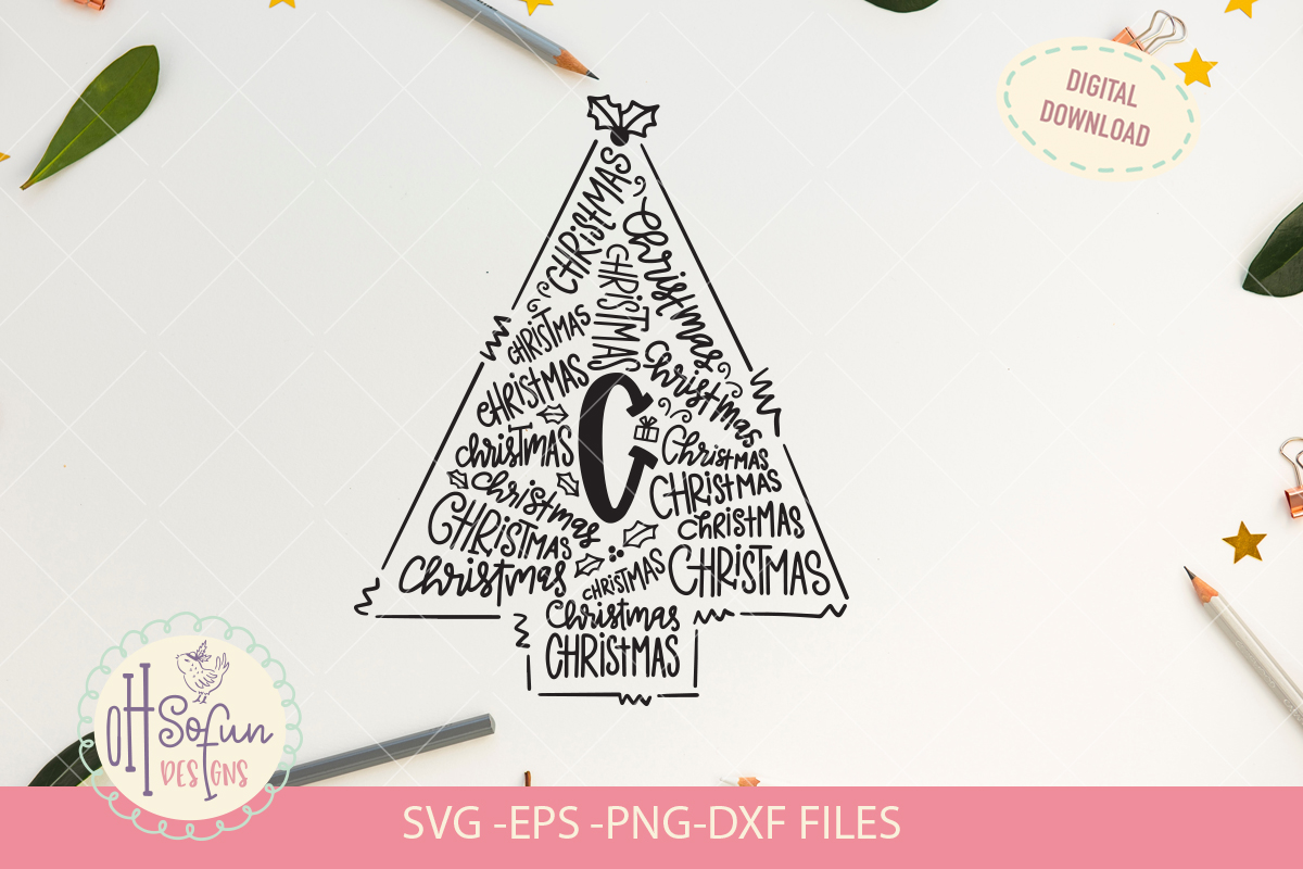 C is for Christmas, Christmas typography SVG, hand drawn example image 2