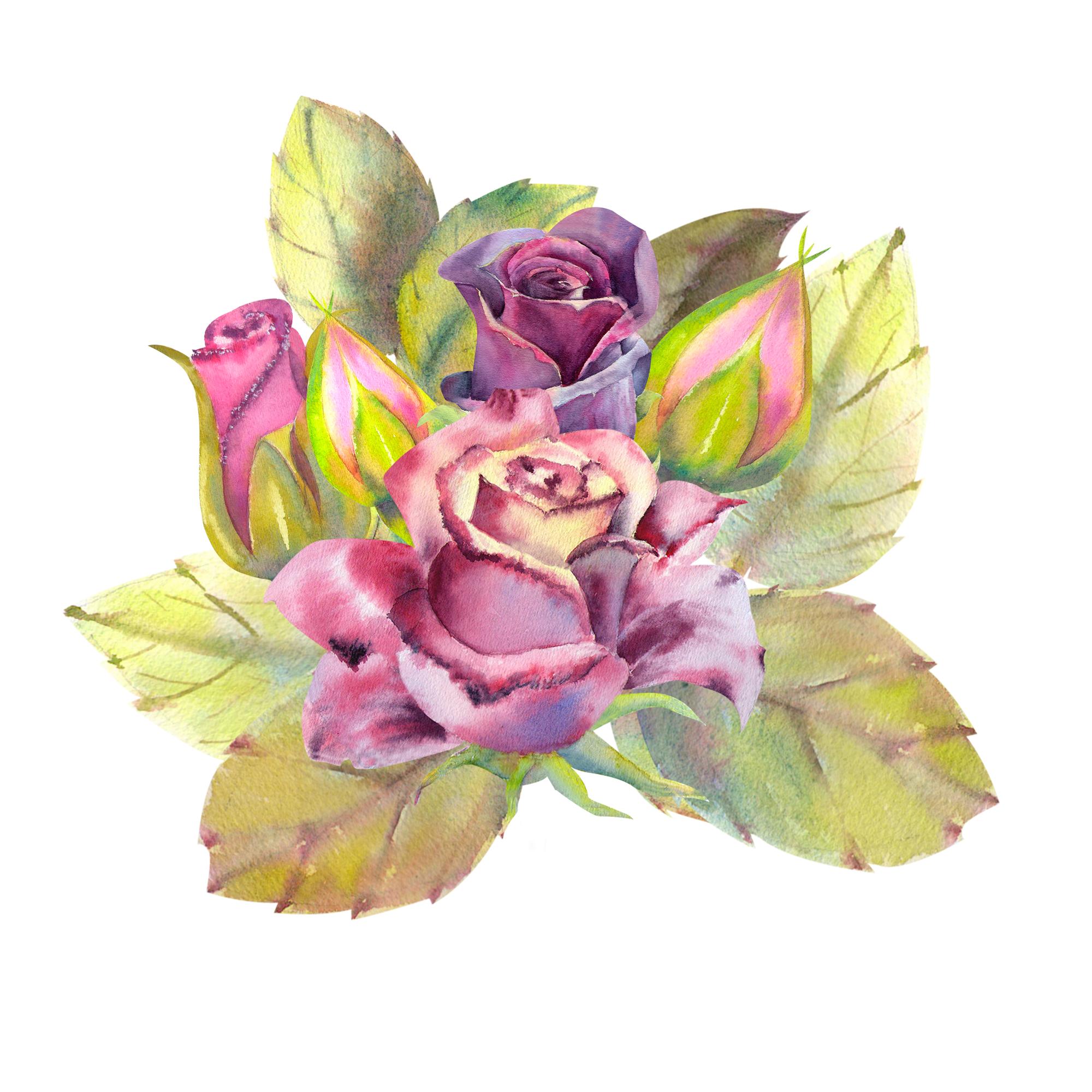 Dark roses. Watercolor. 10 seamless patterns example image 2