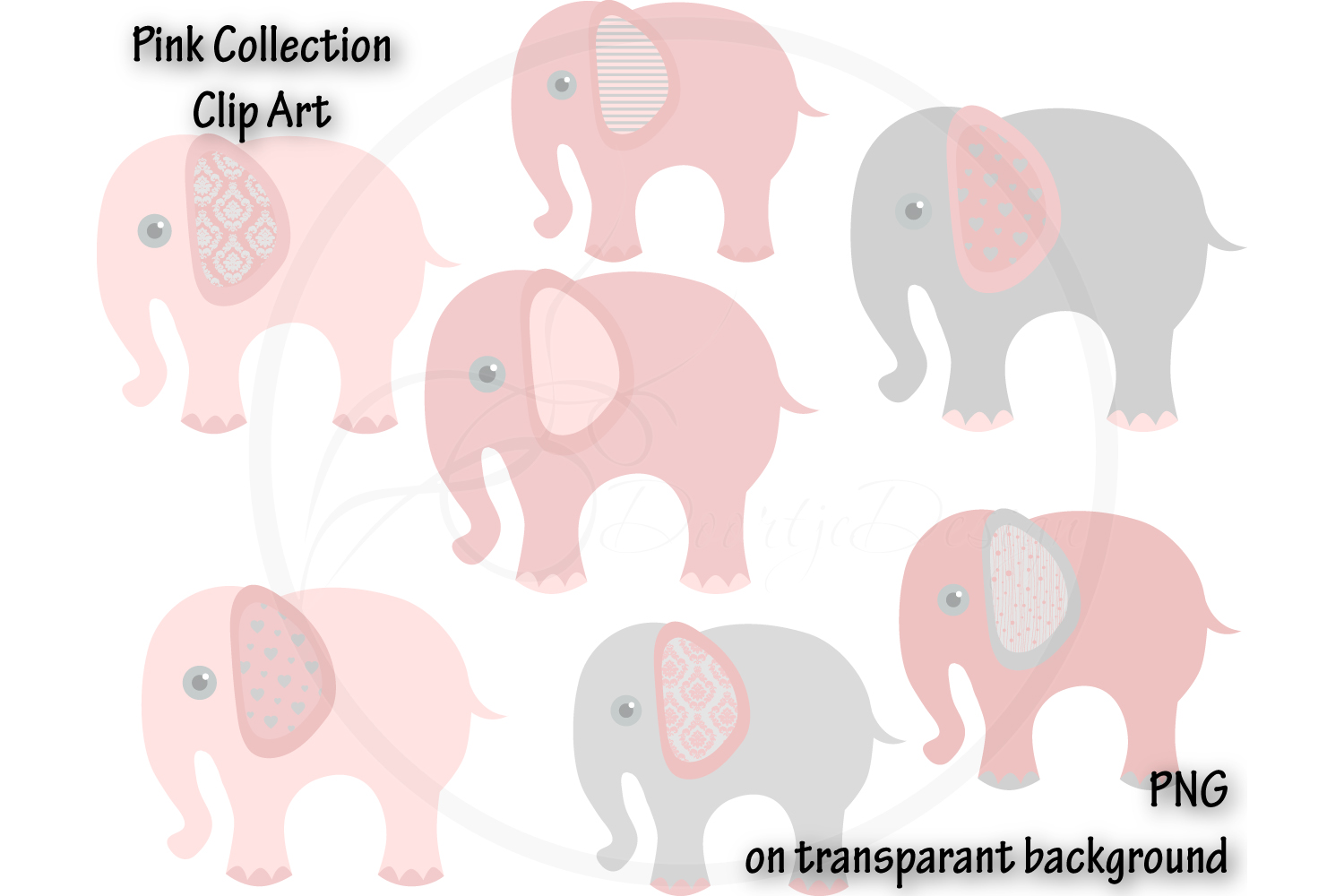 Digital Elephant Pink Clipart example image 1