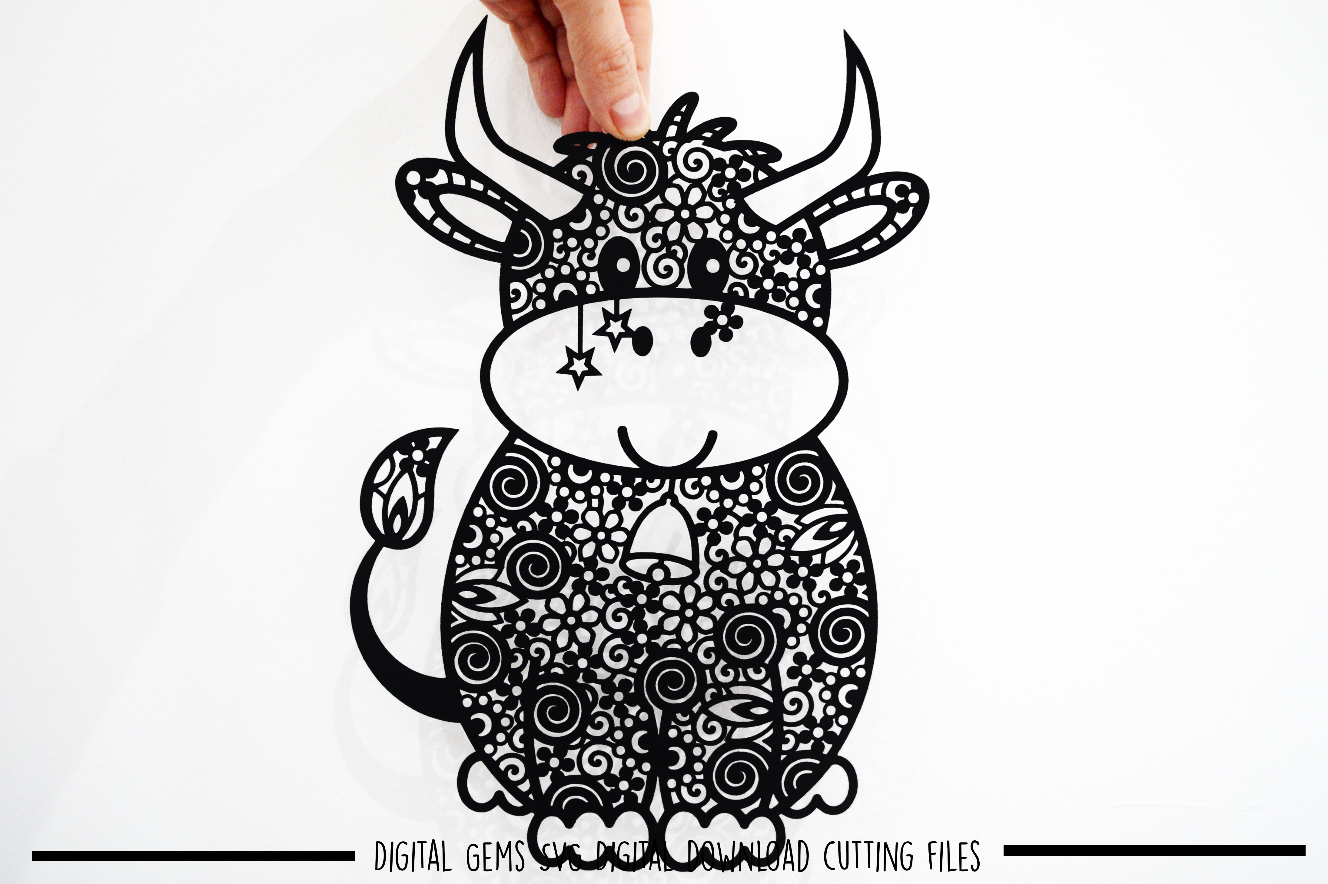 Cow paper cut SVG / DXF / EPS files example image 2