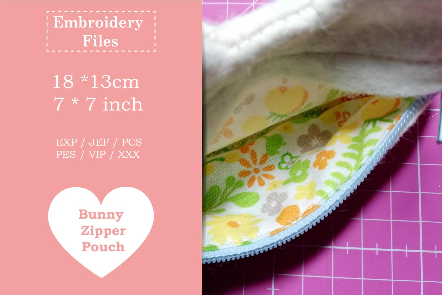 Zippered Easter Bunny Pouch - ITH Embroidery File example image 4