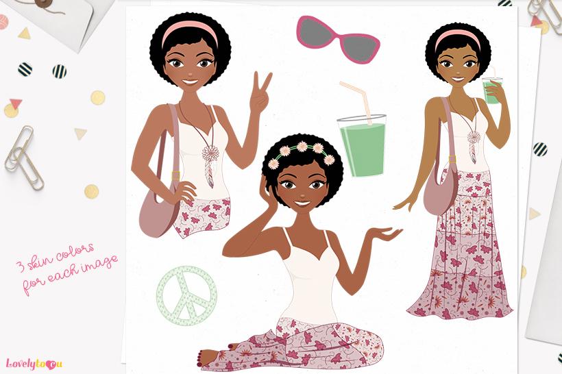 Woman boho character clip art L264 Aleesha example image 1
