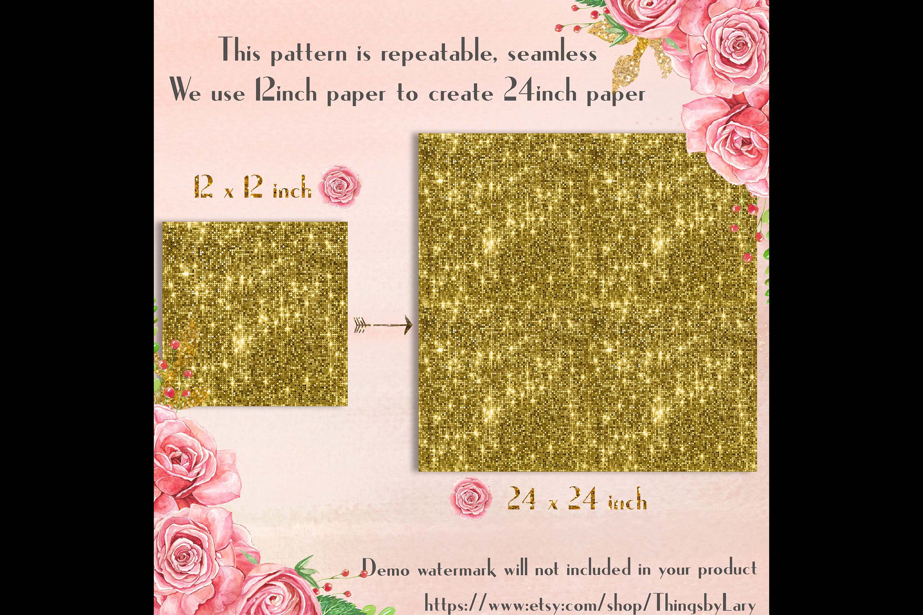 100 Seamless Glowing Bling Bling Disco Sequin Digital Papers example image 8