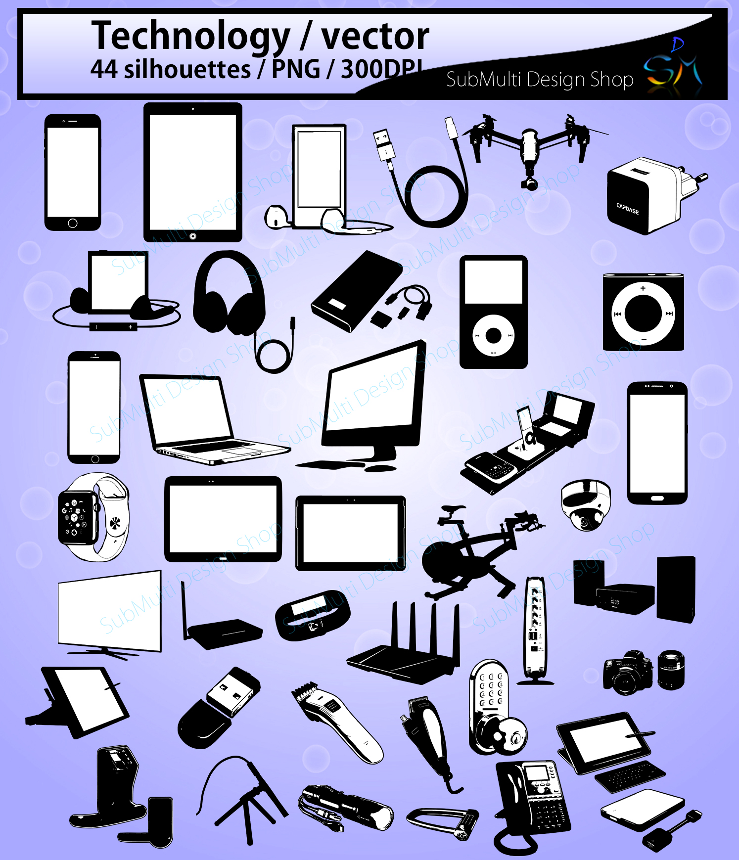 technology silhouette bundle / SVG, EPS vectors example image 2