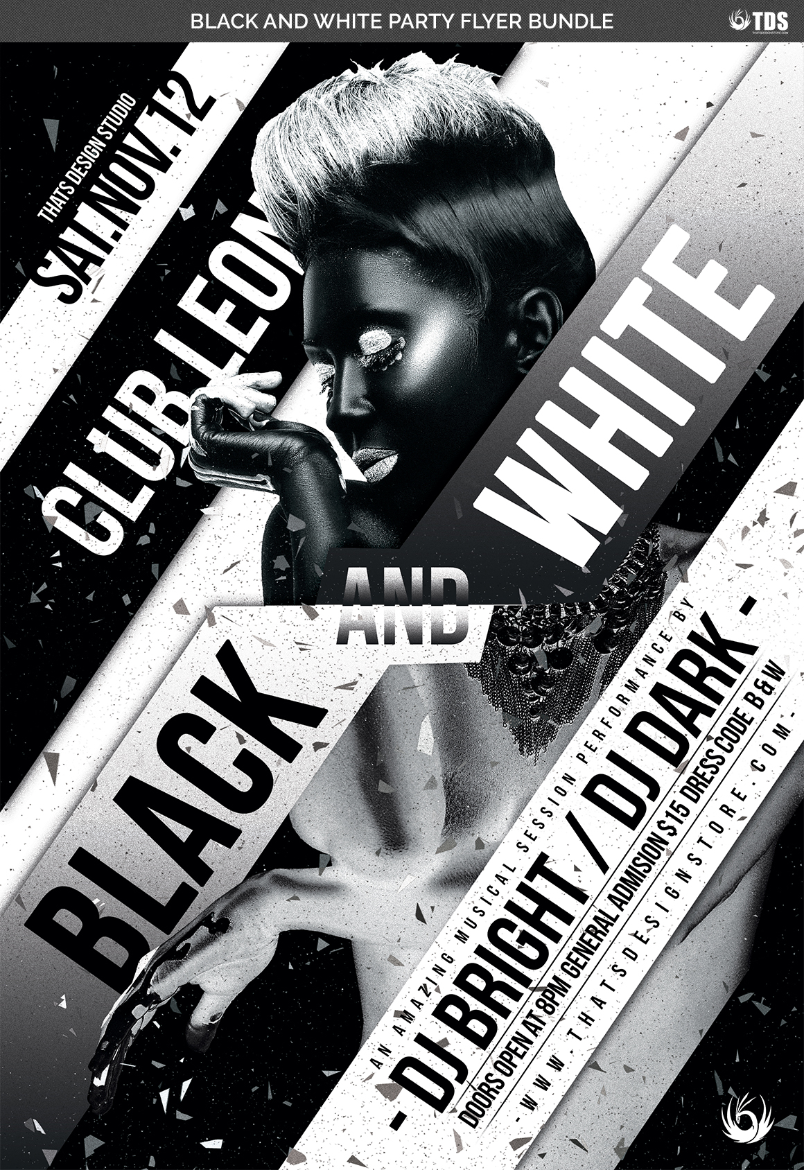 Black and White Party Flyer Bundle example image 7