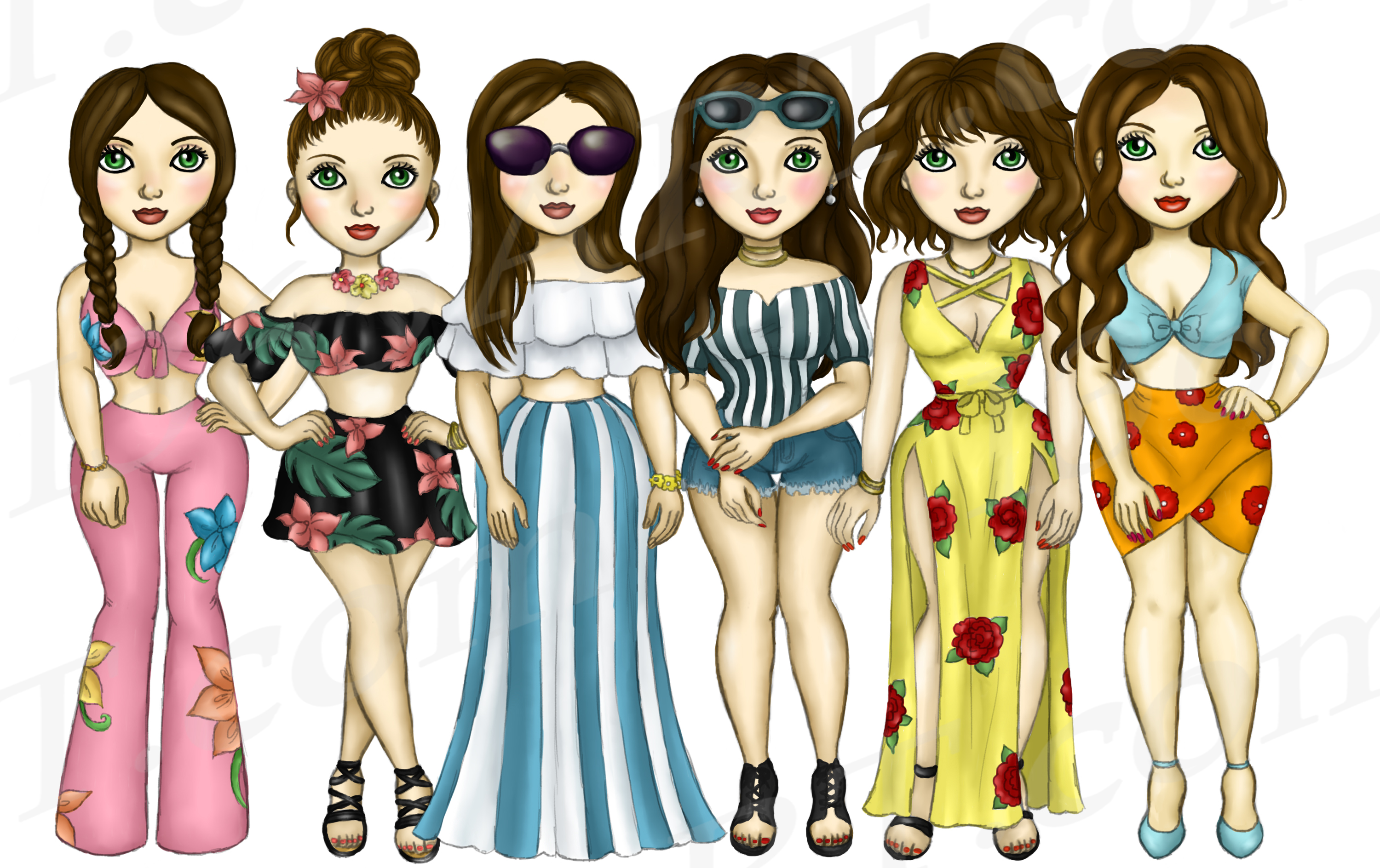 Summer Fashion Girls Planner Clipart, Fashion Girls PNG example image 2